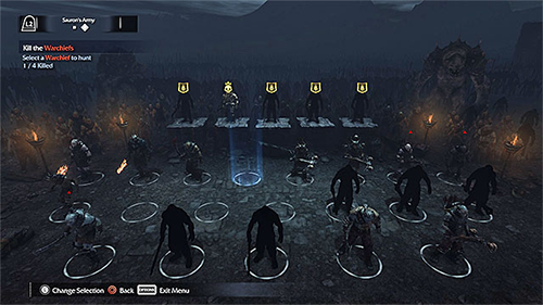 The original game's Nemesis System, showing off the hierarchy of enemy soldiers.