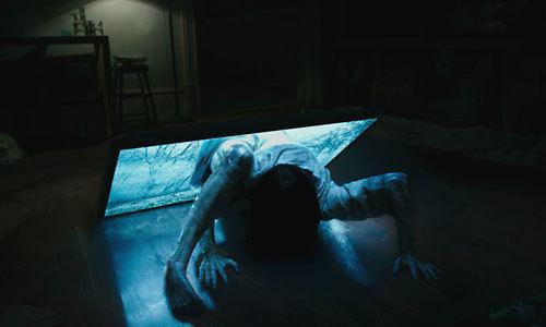 Samara comes out of a flatscreen TV
