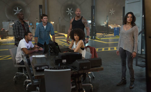 Roman, Tej, Hobbs, Ramsey, and Letty in The Fate of the Furious
