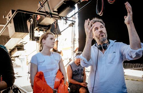 Amy on set with her director Denis Villeneuve
