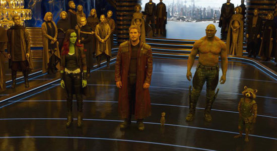 Gamora, Peter Quill, Drax, and Rocket Racoon