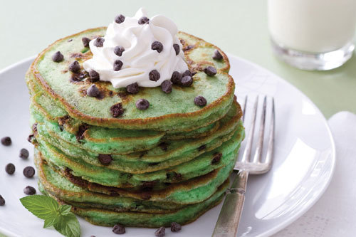 Green Chocolate Chip Pancakes
