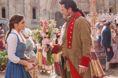 Gaston (Luke) tries to court Belle (Emma)