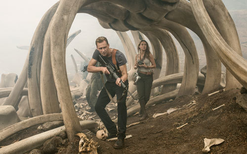 Conrad and Mason walk through giant, ancient bones