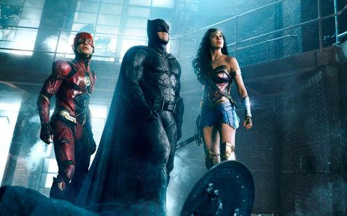 Ezra Miller as The Flash, Ben Affleck as Batman and Gal Gadot as Wonder Woman