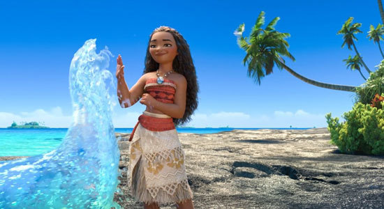 In Gone Fishing, Moana high-fives her pal the sea