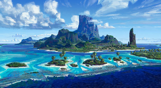 Beautiful island background art