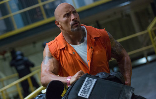 Hobbs (Dwayne Johnson) in prison