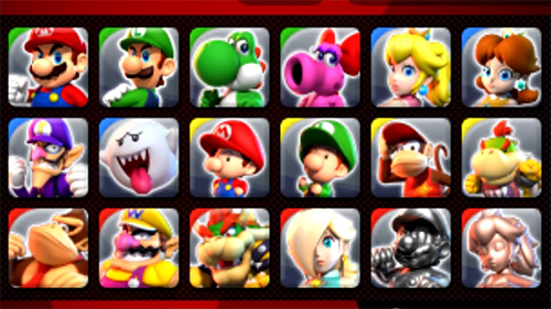The list of characters available in Mario Sports Superstars.