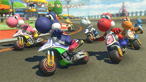 With or without Yoshi, Mario Kart 8 Deluxe is a gorgeous and colorful game.