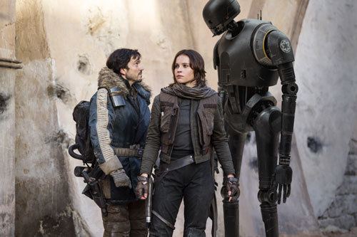 Cassian and Jyn with droid K-2SO