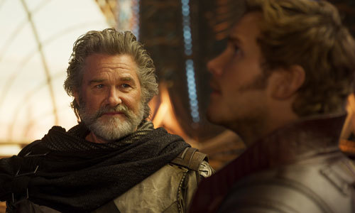Chris Pratt (Star Lord) with Kurt Russell as his dad Ego