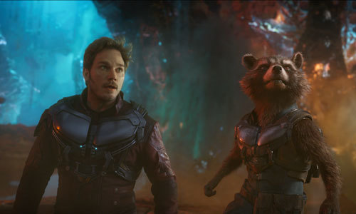 Chris as Star Lord with Rocket Raccoon