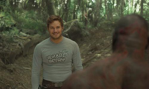 Chris Pratt as Star Lord in a lighter moment