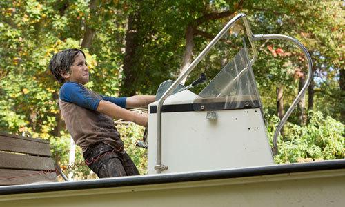 A slimed Greg (Jason) makes a getaway