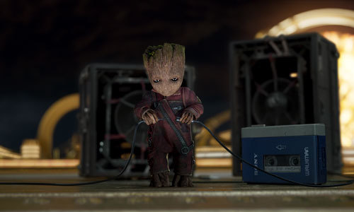 Baby Groot tries to hook up Peter Quill's speaker system