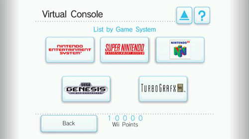 The Virtual Console platforms available on the original Wii.