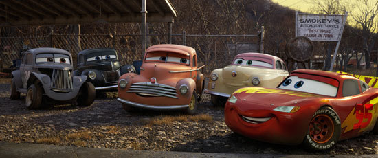 Lightning McQueen with some old pals
