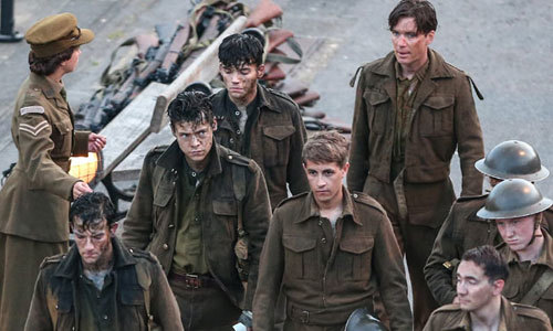 Harry as Alex (left) with other worn out soldiers