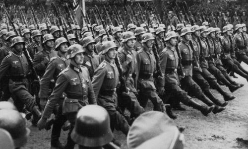 German troops march through occupied Warsaw, Poland