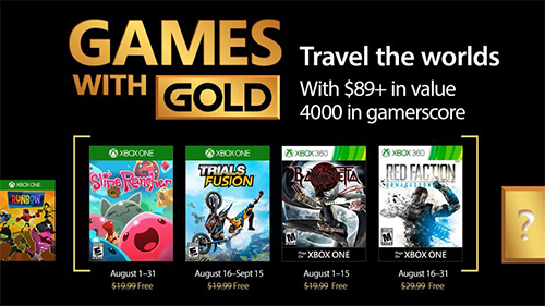 Xbox's Games with Gold lineup for August 2017.