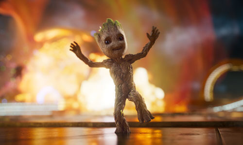 Baby Groot dances during the battle