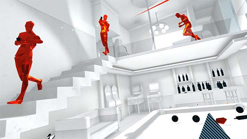 A screen from SUPERHOT VR which is available on PS4 and PC.