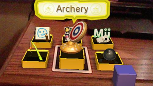 An AR menu as seen on a Nintendo 3DS.