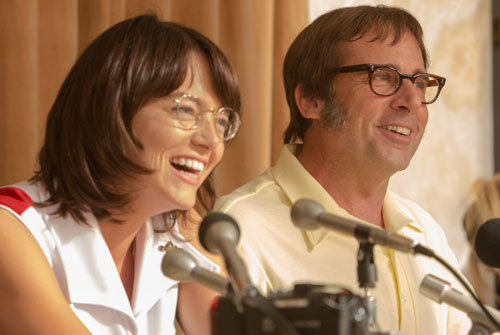 Emma as Billie Jean with Steve Carell as Bobby Riggs