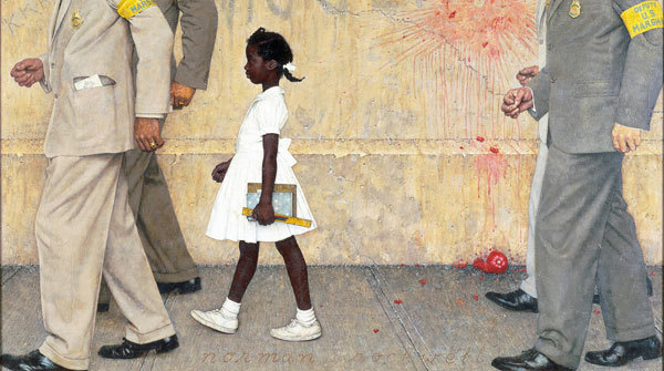 A painting of Ruby Bridges' first day of school as depicted by Norman Rockwell
