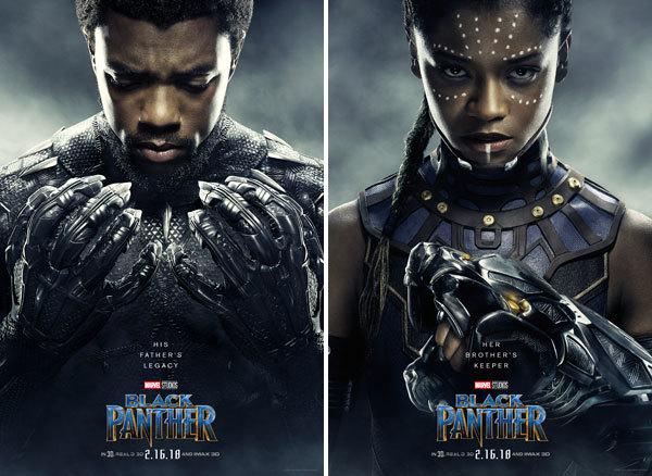 Chadwick Boseman as T'Challa aka Black Panther and Letitia Wright as Shuri