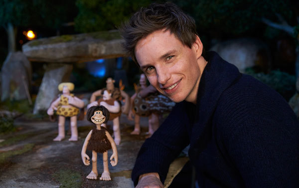 Eddie Redmayne with his clay puppet character Dug
