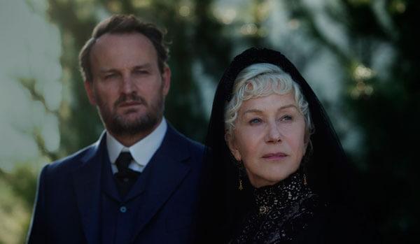 Sarah Winchester (Helen Mirren) shows Dr. Price (Jason Clarke) her house