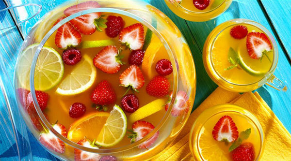 Homemade fruit punch is delicious.