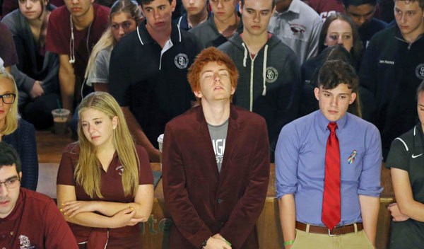Jaclyn Corin, Ryan Deitsch and Alfonso Calderon, along with their classmates from Marjory Stoneman Douglas High School