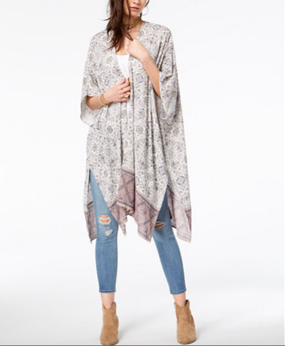 A kimono-style shawl can keep you cozy when evening beach breezes start to blow