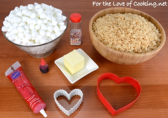 All the ingredients you'll need for tasty pink Rice Krispies Treats