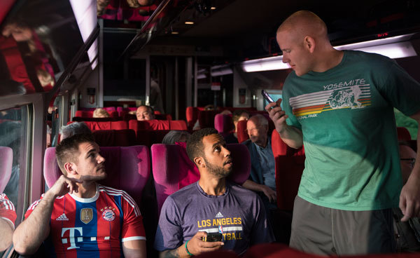 The guys decide to move to First Class for Wi-Fi