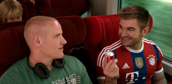 Spencer and Alek check out an itty bitty Coke can