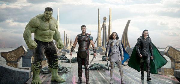 Hulk, Thor, Valkyrie and Loki on the bridge