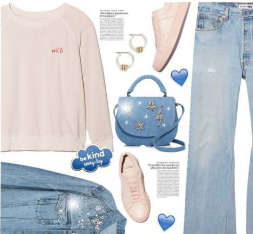 Vintage looks include distressed, wide-leg jeans, slouchy sweatshirts, and embellished accessories