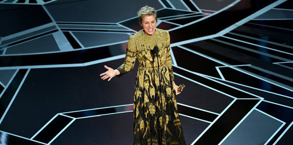 Frances McDormand fights for inclusion in her Oscar speech.