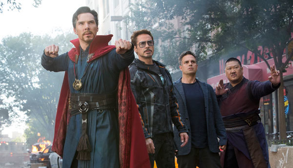 Dr. Strange whips up a spell with Tony, Bruce and Wong