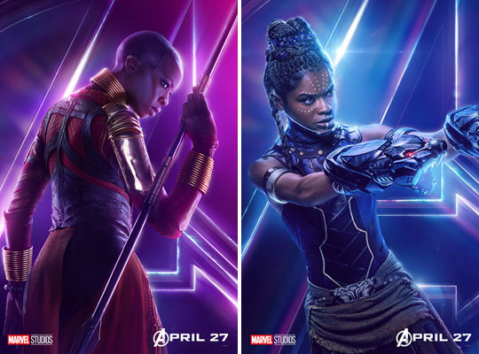Danai Gurira as Okoye and Letitia Wright as Shuri
