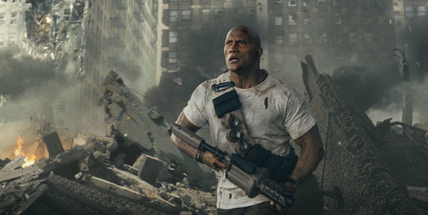 Dwayne in the city fighting giant monsters