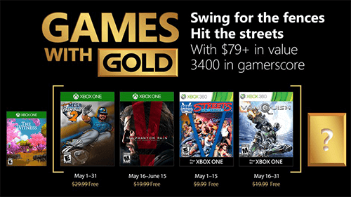 May 2018's Xbox Games With Gold lineup.