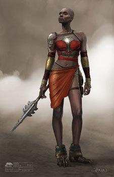 Early costume art for Okoye