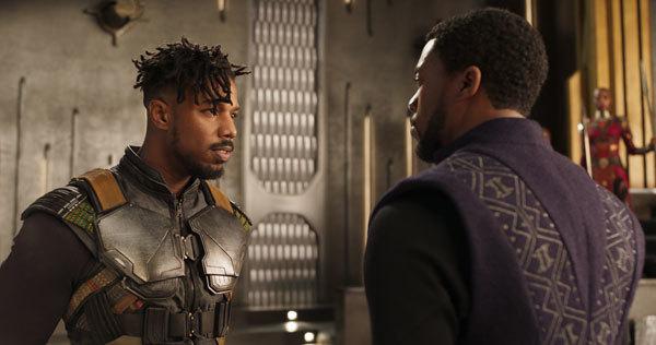 Killmonger confronts T'Challa/Black Panther