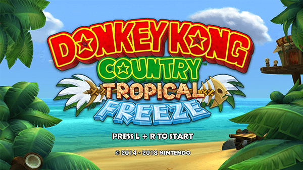 Tropical Freeze's start-up screen for the Switch.
