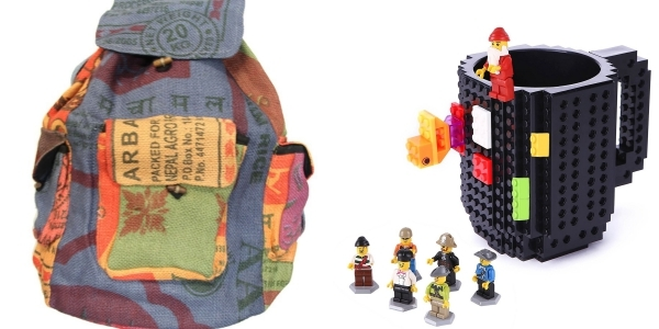 Last-minute quirky gifts for mom, like a lego coffee mug or a recycled rice bag backpack